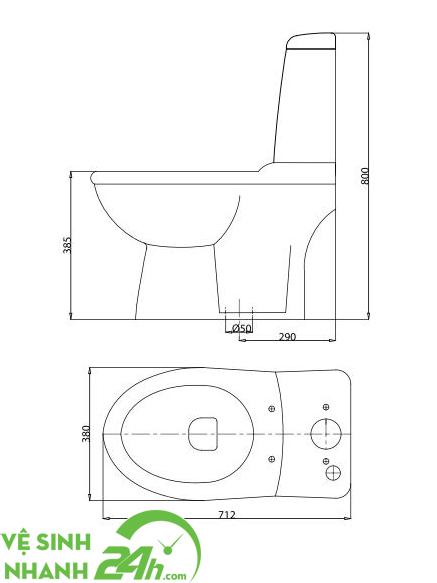 Bản vẽ chi tiết bồn cầu Viglacera giá rẻ